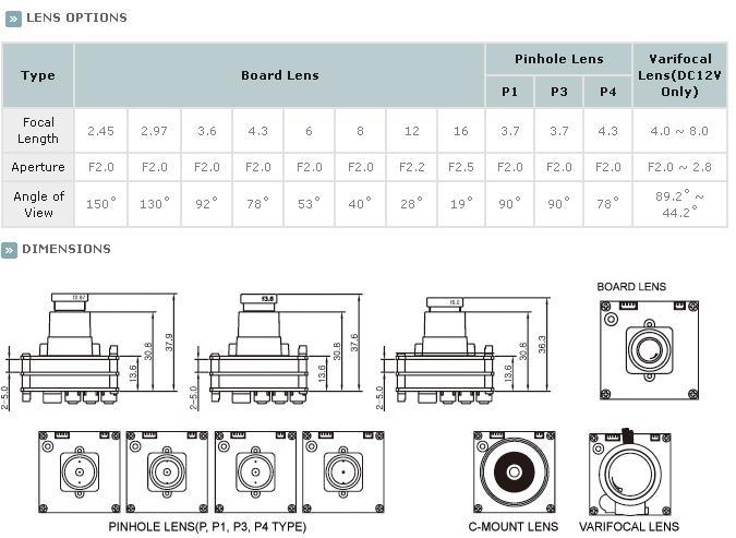 KTnC KPC-E700NU Color Miniature Camera 700 TVL SONY Effio 30mm x 30mm dimensions