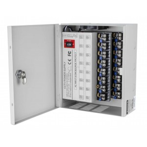 Power Supply Distribution Box - 12V DC 16 channel 32 Amps UL Listed PTC Fused, Individual voltage adjustable for each output, 11-15V