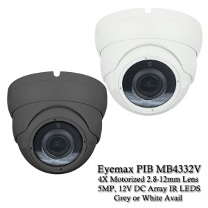 Eyemax PIB MB4332V 5MP HD TVI Eyeball Camera 2.8-12mm 4X Motorized In/Outdoor, White Or Dark Grey