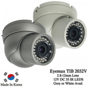 Eyemax TIB 2032V 1080P In/Outdoor IR Turret Camera, 2.8-12mm 12V DC white or Grey