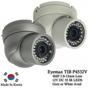 Eyemax HD-TVI, TIB-P4532V 4MP In/Outdoor IR Turret Camera, 2.8-12mm 12V DC white or Grey