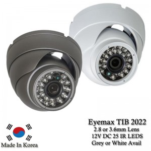 Eyemax TIB 2022 1080P In/Outdoor IR Turret Camera, 3.6mm or 2.8mm 12V DC white or Grey