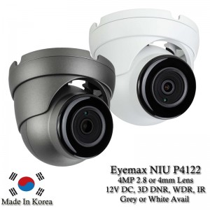 Eyemax NIU-P4122 4MP Network IP, In/Outdoor IR Turret Camera, 2.8mm or 4mm 12V DC white or Grey