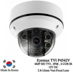 Eyemax Storm Series TVI-P4542V 4MP HD-TVI Vandal DOME IR Camera 2.8-12mm 12V DC WDR