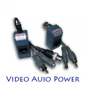 All In One Video Balun Cat5 to BNC Converter Audio Video Power ( Pair )