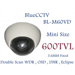 Bluecctv mini size vandal proof dome camera 600 TVL 3.6mm WDR OSD