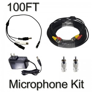 CCTV Microphone Kits for Q-SEE, Swann Any Surveillance DVR Security Systems 100FT
