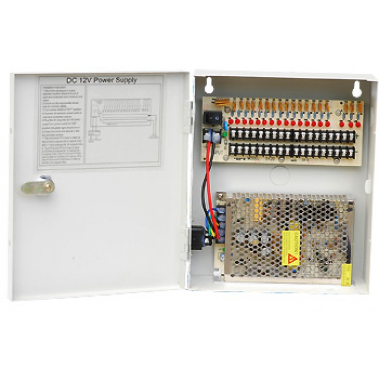 power supply distribution box 12v dc 18 channels 10 amps