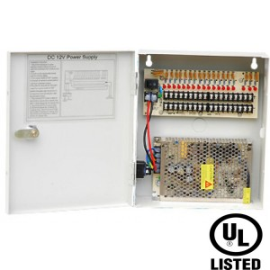 Power Supply Distribution Box - 12V DC 18 channels 10 Amps, Resettable PTC Fuse UL Listed