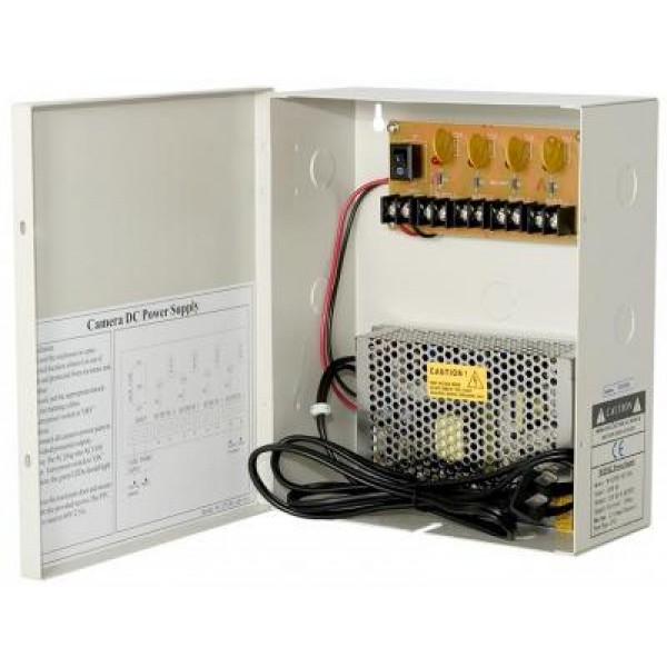Power Supply Distribution Box - 12V DC 4 channels High Output 10 Amps,  Resettable PTC Fuse