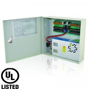 Power Supply Distribution Box - 12V DC 18 channel 20 Amps, PTC, Key Lock, Voltage Control upto 13.5V UL Listed